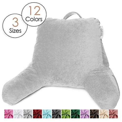 Nestl Reading Pillow, Medium Bed Rest Pillow with Arms for Kids Teens & Adults – Premium Shredded Memory Foam TV Pillow - Silver