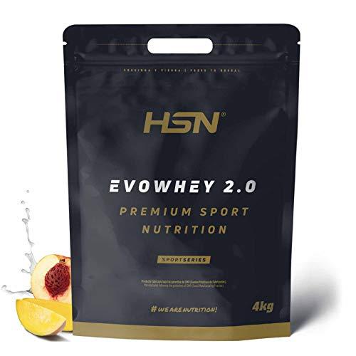 Concentrado de Proteína de Suero Evowhey Protein 2.0 de HSN   Whey Protein Concentrate  Batido de Proteínas en Polvo   Vegetariano, Sin Gluten, Sin Soja, Sabor Melocotón Mango, 4Kg