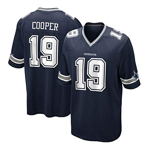 Herren Rugby-Trikot - # 19 Amari Cooper Dallas Cowboys, Street Embroidered Football Jersey Kurzarm Sport Top T-Shirt Trikot blau (S-3XL)-Blue-M