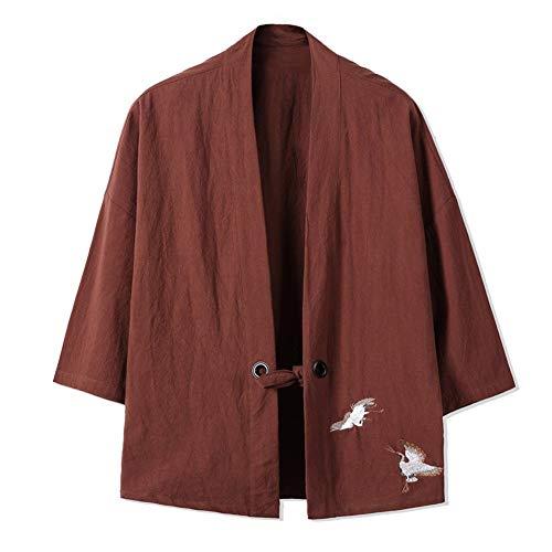 LIZANAN Retro Men 's dünne Jacken-Stickerei Crane Coat [Brown, Größe 3XL]...