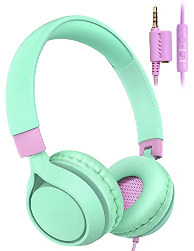 Kids Headphones, Over Ear Headphones with Microphone, 85/94dB Volume Limited, Wired Headphones with Sharing Function for Teens Girls Boys, Foldable Headset for School PC Cellphone