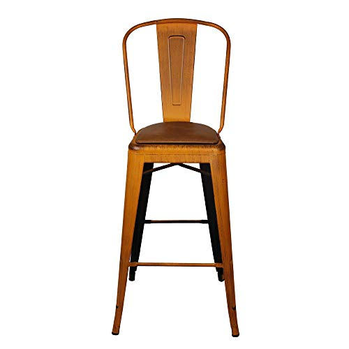 GIA High Back Armless Bar Chair with Faux Leather Seat, Antique Orange/Brown, 2-Pack
