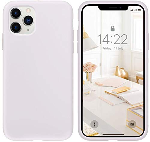 """IceSword iPhone 11 Pro Max Case White, Thin Liquid Silicone Case, Soft Silk Microfiber Cloth, Matte Pure White, Gel Rubber Full Body, Cool Protective Shockproof Cover 6.5"""" - White"""