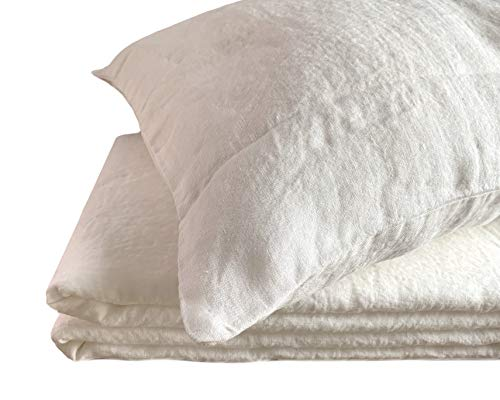 JOWOLLINA Funda de almohada 100% lino suave lavado (Off White Soft, 40 x 80 cm, 180 g/m²)