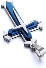 Unisex Roestvrij Staal Hanger Ketting Mode Cross-chain Ketting Voor Vrouwen En Mannen - Blauwe Unisex Hanger Ketting