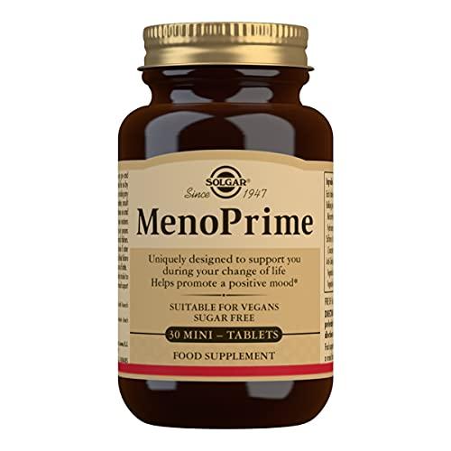 Solgar Menoprime, Mujer, Menopausia, Con Extracto De Azafrán Y Ruibarbo, 30 Cápsulas 200 G, Blanco