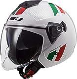 LS2 NC, Casco Moto Unisex-Adult, Bianco/Verde/Rosso, M...