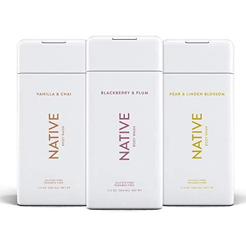 Native Body Wash 3 Pack - Natural Body Wash Women & Men - Naturally Derived Ingredients - SLS & Paraben Free - Blackberry & Plum, Vanilla & Chai, Pear & Linden Blossom