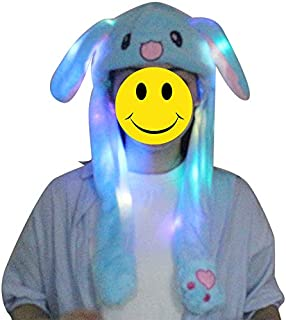 LED Glowing Plush Moving Rabbit Hat, Dancing Bunny Ears Pinching Ear to Move Vertically Cartoon Animal Plush Toys (Blue)