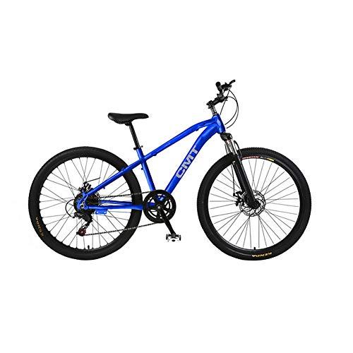 26 Pouces Unisexe Suspension VTT 21 Vitesses Double Frein À Disque Étudiant Enfant Ville de Banlieue Hardtail Bicyclette,Blue