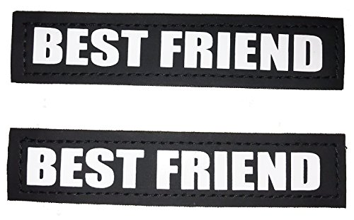 ALBCORP Reflective Best Friend Dog Patches with Hook Backing for Service Dog Vests, Therapy Animal Harnesses, in Training or Pet Lover Jackets Small(4.6 x 1) Inches