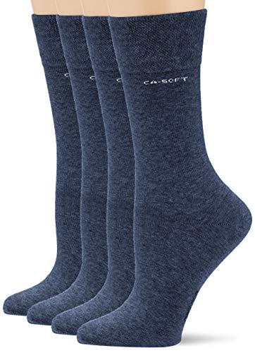 Camano Damen 3642000 Socken, Blau (Jeans 0006), (Herstellergröße:39/42) (4er Pack)