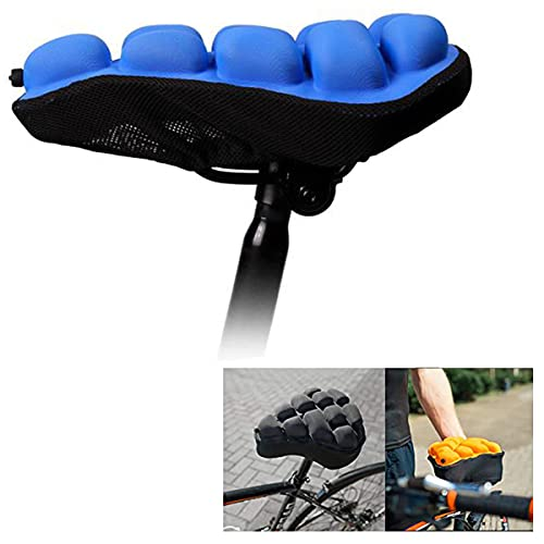 Bike Seat Cushion,Comfortable Bike Seat Cushion,airbag Inflatable Mountain Bike seat Cushion Cover,Shock Absorption Air Inflatable,for Indoor Exercise Outdoor Cycling, Pump (Small,Blue)