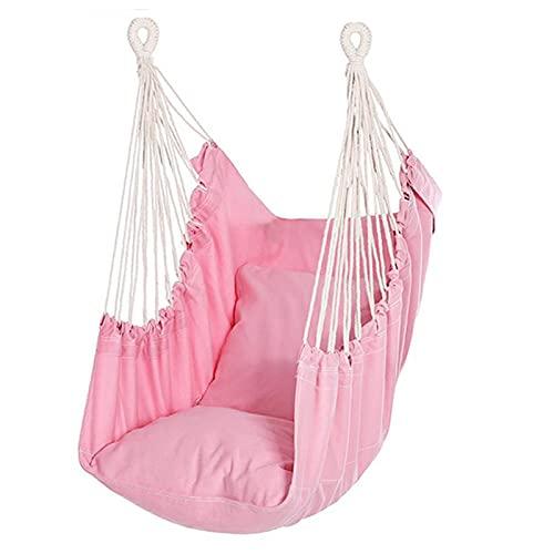 Hangmat Stoel Hangende Touw Schommelstoel, Schommelstoel Met Brede Zitting voor Buiten Binnen Tuin Slaapkamer Patio Veranda - MAX 330 Lbs (Color : Pink)