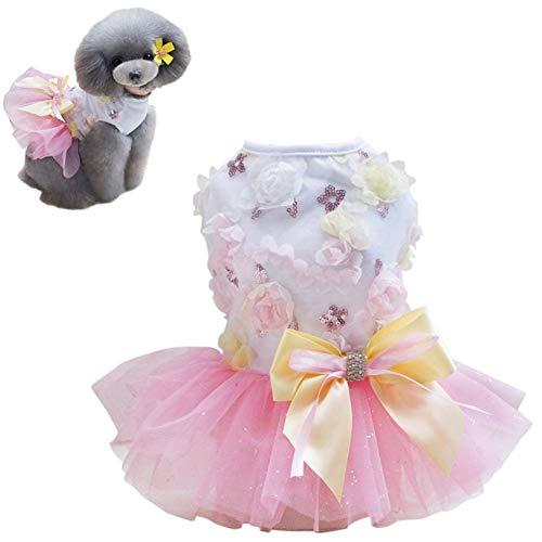 KUOZEN Katzenkleid hundekleid Hundekleid für den Sommer Brautkleider für Hund Süßes Welpenhochzeitskleid Welpenkleidung Katzenkleidung Nette Hundekleider pink,l