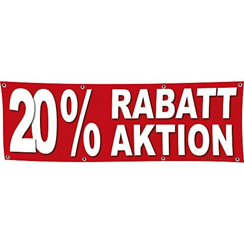 Banner reclamebanner - 20% korting actie - 3x1m - spanband voor uw reclameoptreden/bedrukt met uw motief - 309928
