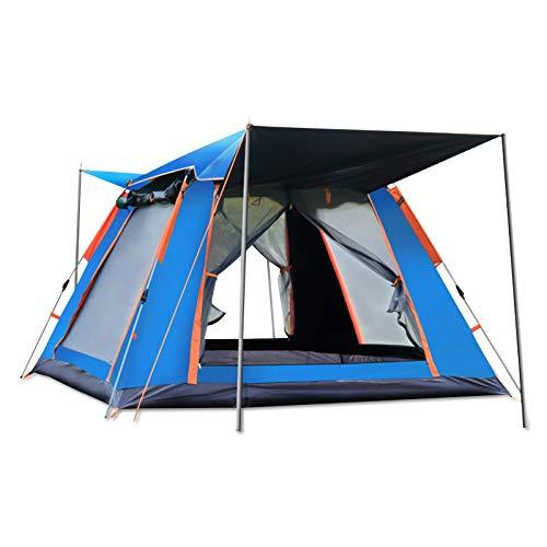 Ergocar Tienda de Campaña 3-4 Personas Tienda de Camping Ligero Impermeable Anti Viento Exteriores Tienda de Campaña para Senderismo Festival Camping Mochila (Azul, Vinilo)