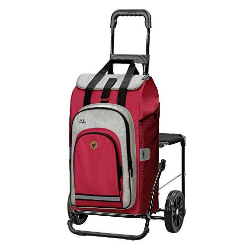 Andersen Shopper Komfort Stahl klappbar mit Rad Ø 20cm und 62 Liter Tasche Hydro 2.0 mit Kühlfach rot