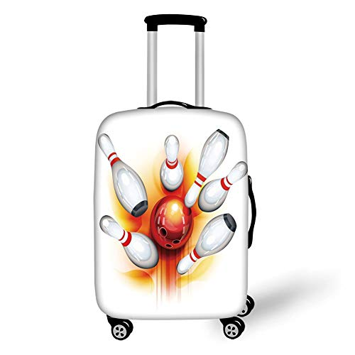 Travel Luggage Cover Suitcase Protector,Bowling Party Decorations,Red Ball with Spread Skittles Vibrant Abstract Vibrant Art Decorative,Red Orange White,for TravelL 25.9x37.8Inch