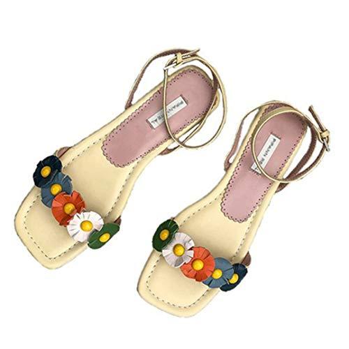 Lady Sommersandalen Gelbe Blume Bonbon Farbe Süßer Stil Flop Flip Quadratischer Absatz Schnallenriemen Elegante Peep-Toe Sandalen