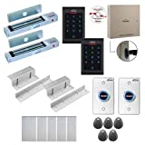 Visionis FPC-8064 2 Doors Professional Access Control Inswing Door Electromagnetic Lock 300lbs Time Attendance TCP/IP RS485 Wiegand Controller, Indoor Only Keypad/Reader, Software 100,000 Users Kit