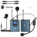 UHF Wireless Lapel Microphone System Rechargeable Real-time Headphone Monitor Headset/Interview/Lavalier Mic for iPhone&Android, PC, DSLR, PA Speaker, YouTube Vlog, Online Chat & Teach(165ft Range)