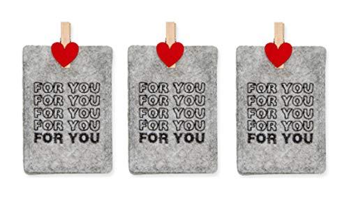 Decpero 3X Filztasche for You ideal für Geldgeschenke mit Herzklammer 7x10 cm grau