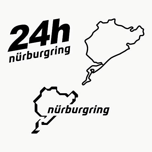 Autodomy Nürburgring Aufkleber Paket 3 Stück für Auto oder Motorrad (Schwarz)