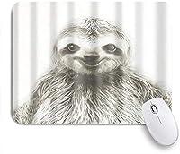 NINEHASA 可愛いマウスパッド かわいいナマケモノの顔の笑顔灰色の動物 ノンスリップゴムバッキングコンピューターマウスパッドノートブックマウスマット