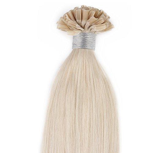 Beauty7 100 Extension de Cheveux Humain Naturel Utips Pose a Chaud Raides/Droits/Lisse 100% Remy Hair Poids 50g - 0.5g/meche - 24inch (60cm) Couleur Blond Platine #60