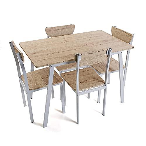 Vetrineinrete® Set Tavolo con 4 sedie 75 x 70 x 110 cm Struttura in Metallo Base in Legno Stile Industriale Arredamento Cucina Salone (Legno Chiaro)