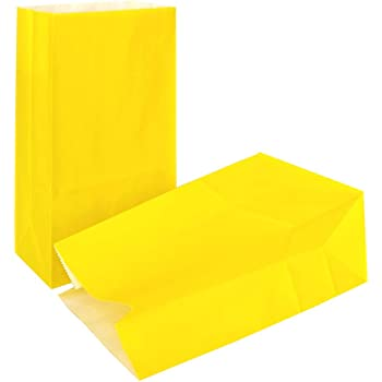 KEYYOOMY Small Paper Bags Yellow Party Favor Gift Bags for Party(24CT, 9.4X 5.1x 3.1 in)
