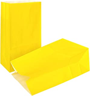 KEYYOOMY 100 CT Small Paper Bags Yellow Party Favor Paper Gift Bags for Wedding Baby Shower Birthday Party(Yellow, 3.1 X 5.1 X 9.4 in)