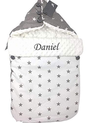 Cottonmoose Saco nana personalizado de capazo de invierno y grupo 0 bebe (Blanco-gris Personalizado)