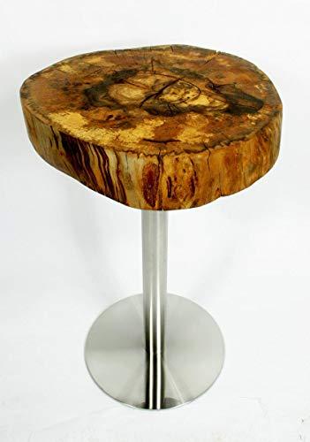 Tisch mit Naturholzplatte ⌀ 40-50 cm, Echtholztisch 82 cm Made in Germany