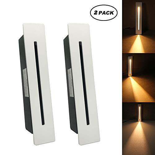LED Treppeneinbauleuchte Treppenleuchte 220V Innenbereich Eckwandleuchte Stufenleuchte Treppenlampe mit CREE Chip, 2 Stücke, warmweiß, Weiß