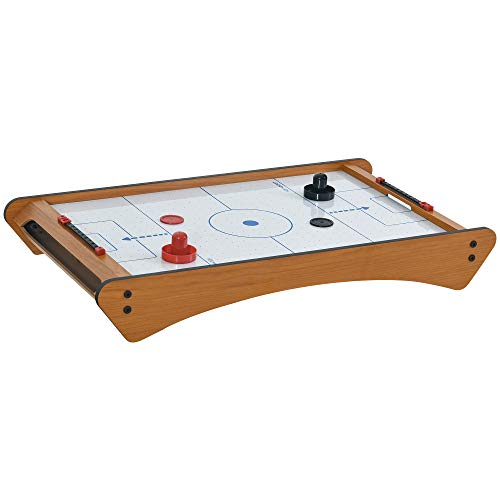HOMCOM 2.5FT Tabletop Air Hockey Game Table Wooden Portable Domestic Party Gaming Toy For Both Children&Adult w/ Electric Fan