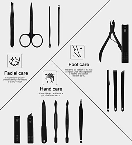 Nail Clippers Sets High Precisio Stainless Steel Nail Cutter Pedicure Kit Nail File Sharp Nail Scissors and Clipper Manicure Pedicure Kit Fingernails & Toenails with Portable stylish case (Black)