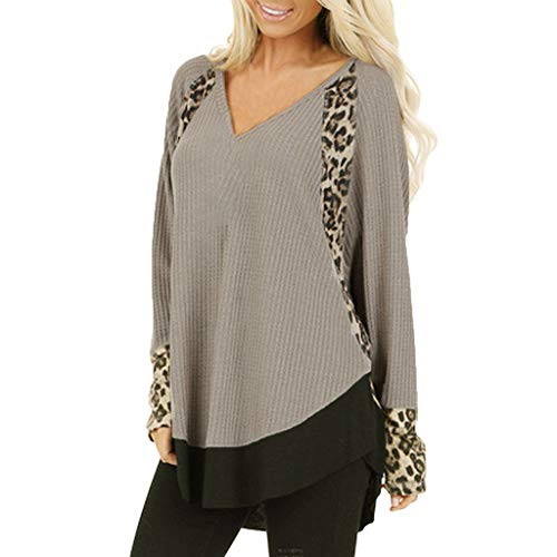 Read About Mlide Womens Pullover Fashion Leopard Print Loose V-Neck Lrregular Hem Blouse Tee Shiring...