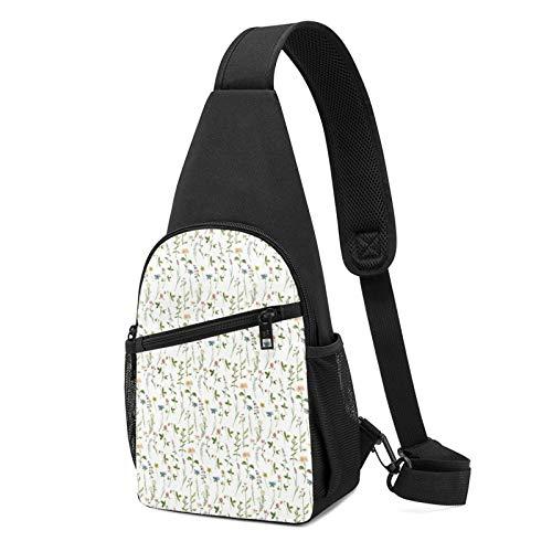 Temporada de acuarelas de flores de hierbas impreso Sling mochila, mochila de hombro ligera para viajes senderismo bolsa bandolera, color Negro, talla Talla única