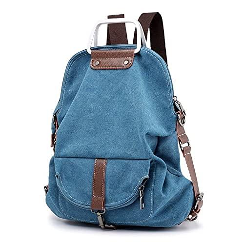 MIMITU Mochila Vintage para mujer, de lona, de viaje, bandolera, mochila para mujer, fin de semana universitario, mochilas escolares informales, mochila, azul