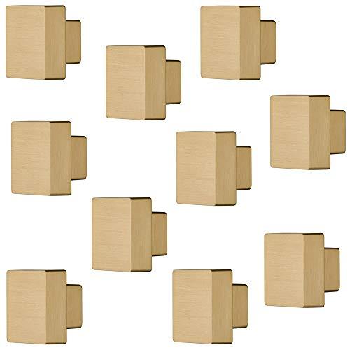 Gedotec Möbelgriff eckig Türknopf Vintage Möbelknopf Messing glänzend für Schrank-Türen - SQUARE | Knopf 30 x 30 mm | Schrankknopf Gold-Optik | 1 0Stück - Design Tür-Knauf für Schubladen mit Schrauben