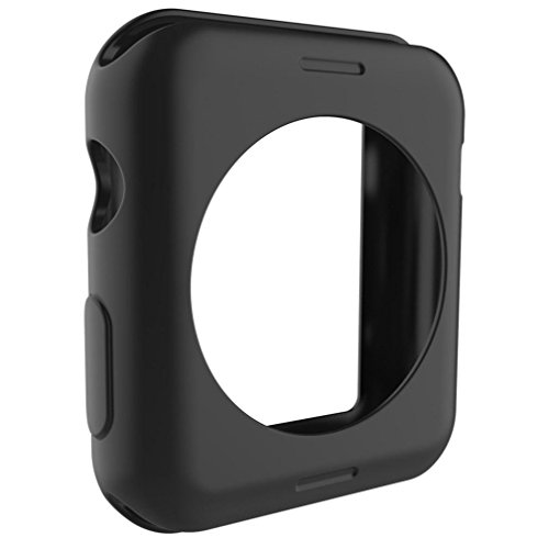 Lisin Ultra-Slim Cute Silica Gel Protect Case Cover For Apple Watch Series 1 42mm Smart Watch Accessories watchband (black)