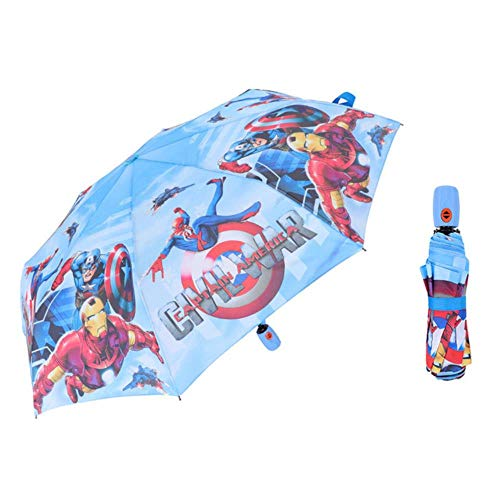 Princesa Paraguas plegable portátil Niños Niño Niña Niño Bebé Parasol congelado Paraguas de lluvia a prueba de viento Regalo plegable de fácil apertura, Iron Man