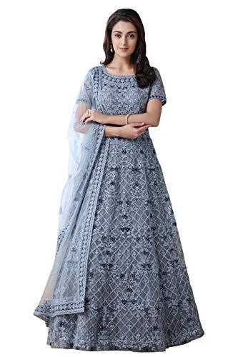 Bollyclues Women's Mono Net Embroidered Grey Semi Stitch Gown(Grey-Botti_Semi Stitch)