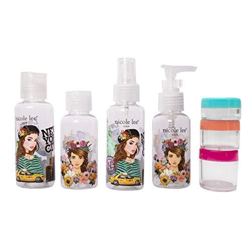 Nicole Lee Set de viaje con bolsa, botellas y contenedores con identificadores y accesorios