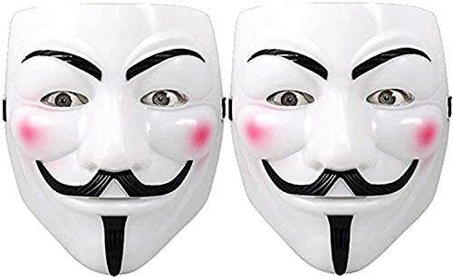 Hacker Mask for Costume Kids - 2 Pack White Anonymous Face Masks for Halloween