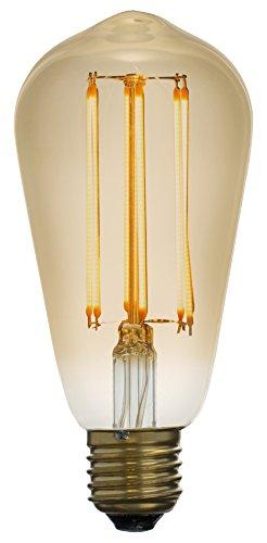 Led Zen LZS2041A Ampoule décorative Edison LED à filament ST64 E27 4W finition ambrée dimmable, Verre, 4 W