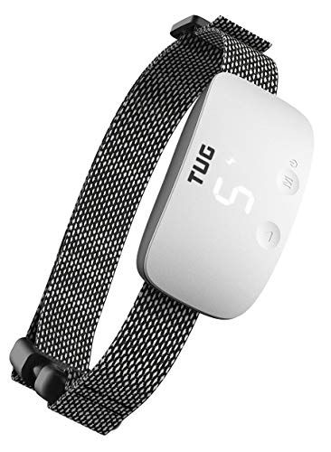 TUG Rechargeable Bark Collar; Adjustable Modes; Waterproof; Exclusive Easy Touch Interface - Buttons on Front of Device to Adjust While Being Worn (White)