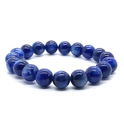 DUOVEKT Pulsera de cianita azul natural de 10 mm para mujeres y hombres de cristal elástico ojo de...